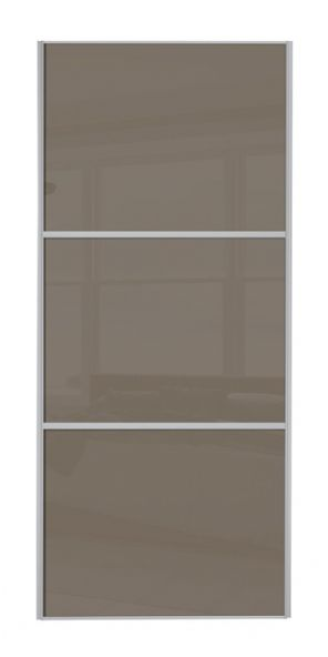 Wideline sliding wardrobe door, Silver frame/ Cappuccino glass